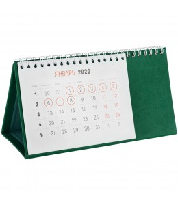 Календарь настольный, зеленый